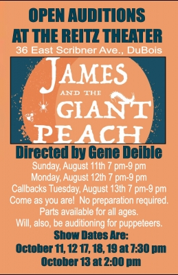 Open Auditions for James and the Giant Peach - Clearfield County
